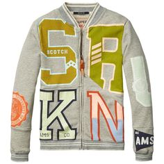 Scotch Shrunk Zip-through college sweat jacket wit bij Ko&Flo 16410231507 Scotch Shrunk, Scotch Soda, Boys Shirts, T Shirts, Kids Graphics, Stylish Kids, Boy Fashion, Kids Boys, Preppy