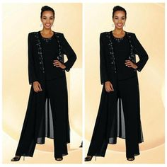 2017 Black Chiffon Mother Of The Bride Pant Suits Beaded Collar Long Sleeve Coat Custom Formal Evening Dresses, Mother Of The Groom Suits, Mother Of The Bride Plus Size, Mother Of The Bride Gown, Mother Of Groom Dresses, Bridal Wedding Dresses, Wedding Suits, Suit With Jacket, Wedding Pantsuit, Formal Evening Dresses
