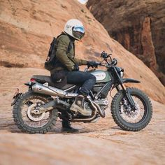 Scramblers Trackers scramblerstrackers Tag motosinmoab Founder and King of the Red Desert Juan Coles on his badass scramblerducati Photo by clancycoop See m. Ducati Scrambler Urban Enduro, Moto Ducati, Yamaha, Motorcycle Outfit, Motorcycle Bike, Desert Sled, Vintage Cycles, Dirtbikes, Bike Parts