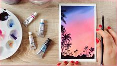 Watercolor Beginner, Watercolor Sunset, Watercolor Trees, Beginner Painting, Easy Watercolor, Watercolour Tutorials, Watercolor Paintings, Watercolours, Palm Tree Sunset