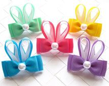 Bunny Ears Hairbow ~ Toddler Hair Clip ~ Easter Bunny Hair Bow ~ Girls Barrette ~ Bunny Ribbon Sculpture ~ Small Hairclip ~ Easter Bow - All About Hairstyles Ribbon Hair Bows, Diy Hair Bows, Barrettes, Hairbows, Hair Bow Tutorial, Toddler Hair Clips, Ribbon Sculpture, Ribbon Crafts, Diy Crafts
