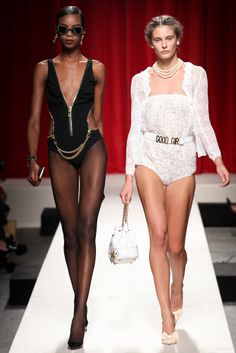 Going out in pairs. Revolutionary outfits from #Moschino in #MilanFashionWeek #SpringSummer2014