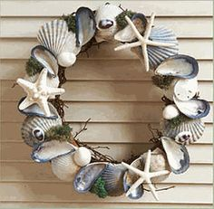 Fabulous finds for your vintage beach decor, classic nautical decor, lush tropical decor, and upscale coastal decor. Coastal Wreath, Nautical Wreath, Seashell Wreath, Twig Wreath, Seashell Crafts, Beach Crafts, Coastal Decor, Kids Crafts, Coastal Cottage