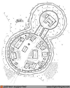 Vikhelm and his kin were not welcomed to the land. Instead they fought for every inch of land they settled, building small fortresses and defensible homes to watch over their farmland and made sure… Fantasy Town, Fantasy Map, Medieval Fantasy, Village Map, Viking Village, Dungeons And Dragons, Environment Map, Isometric Map, Pen & Paper