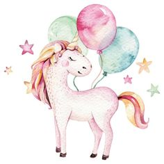 Illustration about Isolated cute watercolor unicorn clipart. Illustration of horn, decoration, clipart - 100633284 Wall Stickers Unicorn, Wall Stickers Animals, Unicorn Wall Art, Kids Wall Decals, Nursery Wall Decals, Wall Decal Sticker, Unicorn Painting, Unicorn Poster, Unicorn Illustration