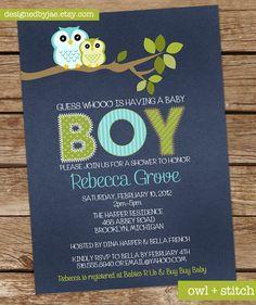 Baby Boy Shower Invitation Owl Owls Invitation by DesignedByJae, $13.00