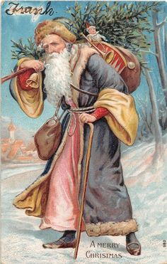 ~Long Blue Robe Santa Claus ~w. Walking in Collectibles, Postcards, Holidays Antique Christmas, Christmas Art, Christmas And New Year, Christmas Decorations, Christmas Things, Holiday Decor, Walking, Victorian Design, Christmas Illustration