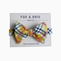 Lemon Plaid bow tie by FoxandBrie