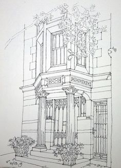 Freehand ink sketch on location. Park Slope, Brooklyn.