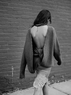 Kelsey Van Mook by Annemarieke van Drimmelen in Rika Magazine Heavy knitwear. Tailored pants. Silk undergarments. Weekend snug-wear at its very best.