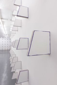 Finbar Ward IN ABSENCE 2016 Enamel, colbalt violet oil, linen, wood, and staples Dimensions variable