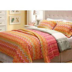 bedroom#6~ bunk room~Orange ZigZag Twin-size 2-piece Quilt Set | Overstock.com