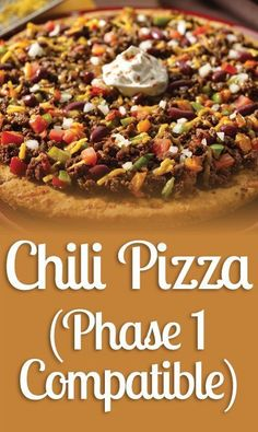 Chili Pizza (Phase 1 Compatible) -  Phase 1 compatible chili pizza ? Yes, just follow these steps and learn our most popular recipe: 1) Yield 2 medium pizzas, equivalent to 2 Ideal ... -
