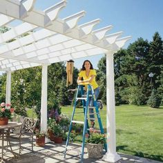 Learn how to build a pergola in your backyard to shade a stone patio or deck. These pergola plans include wood beams and lattice set on precast columns. Diy Pergola, Building A Pergola, Wooden Pergola, Outdoor Pergola, Outdoor Spaces, Outdoor Living, Outdoor Decor, Pergola Ideas, Pergola Roof