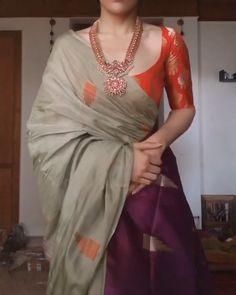 Brocade Blouse Designs, Cotton Saree Designs, Saree Blouse Neck Designs, Brocade Blouses, Blouse Patterns, Saree Wearing Styles, Saree Styles, Trendy Sarees, Stylish Sarees