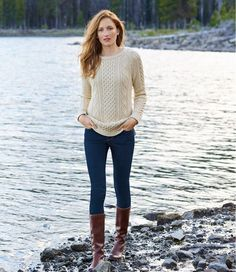 Find the best Women's Signature Cotton Fisherman Tunic Sweater at L. Our high quality Women's Sweaters are thoughtfully designed and built to last season after season. Adrette Outfits, Fall Fashion Outfits, Fall Winter Outfits, Sweater Fashion, Autumn Fashion, Preppy Fall Outfits, Preppy Fall Fashion, Winter Sweater Outfits, Style Fashion