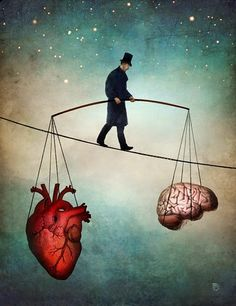 Surreal Paintings - Balance of Mind and Heart.  Beautiful art full of symbolism by Christian Schloe. More information and more images from this Artist, Press the Image.
