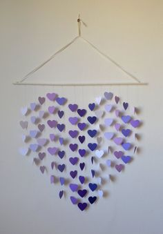 Items similar to DIY Heart Mobile Kit - Lilac Dreams Wall Hanging / Baby Shower / Wedding Decor / Baby Mobile / Birthday Gift / Party Decor / Photo Prop on Etsy Mobiles, Hello Kit, Hanging Mobile, Lilac, Purple, Dream Wall, Unique Wall Art, Paint Chips, Ribbon Colors