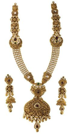 Jewels Indian Wedding Jewelry, Indian Jewelry, Bridal Jewelry, Gold Jewellery Design, Gold Jewelry, Women Jewelry, Antique Necklace, Antique Jewelry, Gold Set
