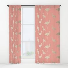 Gold Flamingo Pattern Coral Pink Window Curtains