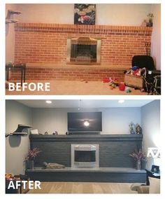 """No longer a """"To Do"""" It's a """"BEEN DONE""""! Finally finished with the fireplace remodel. Got Valspar Semi-transparent concrete stain from Lowes (Ember). High heat silver for the fireplace cover. Used a lighter concrete stain (Moonstone) mixed with (Ember) on the lower platform to make a stone effect. Looks amazing! So happy with it!"""