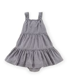 classic black and white gingham tiered dress with square neckline and shoulder straps in 100% cotton. elasticized neckline means no hassling with buttons. matching bloomers. at ralphlauren.com, on sale.