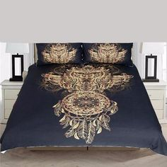 BeddingOutlet Golden Owl Bedding Set King Size Boys Luxury Dreamcatcher Print Black Duvet Animal Feather Bohemian Bed Cover looks great in models, design, Owl Bedding, Cheap Bedding Sets, King Bedding Sets, Queen Bedding, Elephant Bedding, Affordable Bedding, Bed Sets, Bed Covers, Duvet Cover Sets