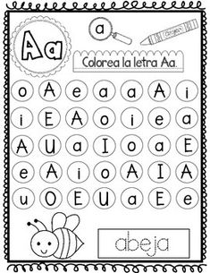 Las Cinco Vocales: No Prep Spanish Literacy Center from Bilingual Teacher… Vowel Activities, High School Activities, Alphabet Activities, Spanish Activities, Alphabet Cards, Alphabet Worksheets, Kindergarten Worksheets, Printable Flashcards, Spanish Worksheets