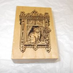PSX G-1022 Cat rubber stamp in window roses Wood Mounted Cats pets lace #PSX #Cats
