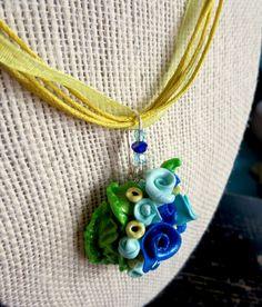 Blue and Aqua Rose Bouquet Pendant Necklace. by ABergieCreation