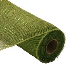"""Metallic Deco Poly Mesh® Ribbon Moss and Apple with Lime Green Foil Metallic Synthetic material, fabric like mesh netting 21"""" x 10 yd Great for your holiday decorating, bow or wreath"""