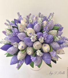 Купить Нежность Прованса букет тюльпанов - тюльпаны, букет, лаванда, тюльпаны из ткани, тюльпаны тильда
