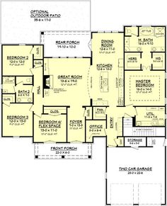 House Plan 041-00105 - French Country Plan: 2,480 Square Feet, 4 Bedrooms, 2…
