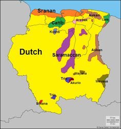 Languages of Surinam (formerly Dutch Guyana) in South America.