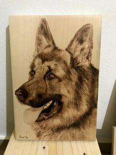 Handmade pyrography painting of a German Shepperd dog (Painted by Heart Pyr) Pyrography, Pet Birds, German, Dogs, Handmade, Painting, Animals, Create, Wallpapers