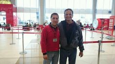 Former Hollywood actor/director  Pato Hoffmann  (acting coach in La Paz currently) with his loyal fan. El Alto International Airport (La Paz),  Bolivia. November, 2015.