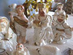 White pearlized nativity scene vintage by cgraceandcompany on Etsy