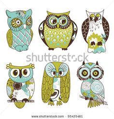 stock vector : Collection of six different owls