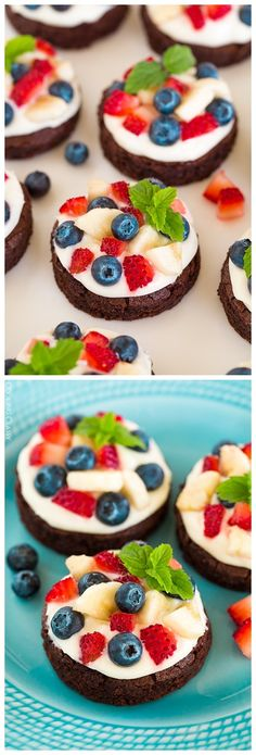 Mini brownie fruit pizzas with cream cheese frosting dessert Brownie Fruit Pizzas, Fruit Pizza Cups, Fruit Pizza Frosting, Easy Fruit Pizza, Healthy Cream Cheese, Cream Cheese Recipes, Cream Cheeses, Healthy Fruit Tart Recipe, Healthy Recipes