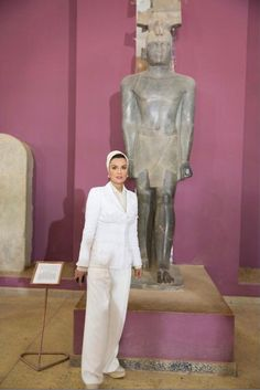 Sheikha Mozah during her visit to the National Museum in Khartoum Sudan last week. She looked absolutely sharp in white couture pant suit.