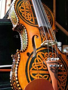 Beautiful celtic carved violin