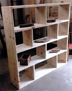 bookcase, room divider made for vinyl storage. Reclaimed wood