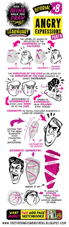 Here's a refresher on my how to THINK when you draw ANGRY EXPRESSIONS tutorial for #LEARNUARY ! Yesterday's ADDITIONAL tutorials and refe...