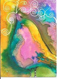 """Song Bird"" ATC size hand drawn watercolor by Bonnie Tincup"