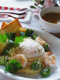 そら豆と海老の混ぜ混ぜ豆乳カルボナーラ。生クリームを使わないヘルシーレシピ。