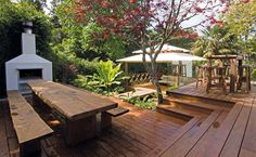 Outdoor dining table and outdoor kitchen, asian style pavilion