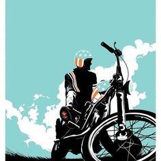 "Matt Taylor's illustration of the film ""Easy Rider"" as part of the Crazy 4 Cult art show. Motorcycle Posters, Motorcycle Art, Bike Art, Easy Rider, Art And Illustration, Illustrations Posters, Creative Illustration, Arte Pop, Art Moto"