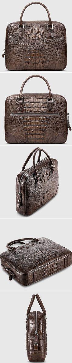 Crocodile Briefcase, Alligator Briefcase, Luxury Leather Briefcase for Men