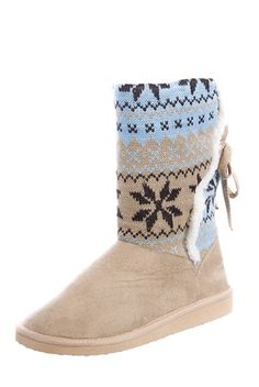 a22069212b6710 First Snow Faux Sheepskin Tie Back Sweater Boots - Beige from RCK Bella at  Lucky 21