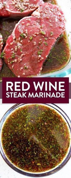 Easy and simple red wine steak marinade with soy sauce, garlic, sesame oil. This gluten free marinade recipe is easy and perfect for grilling steak on the BBQ. #Grillingtips
